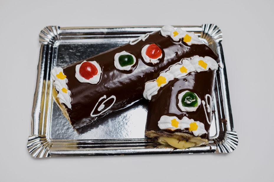 Tarta Brazo gitano crema y chocolate, Pastelería Eceiza